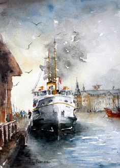 Watercolor Art Paintings, Watercolor Artists, Watercolor Landscape, Painting & Drawing, Landscape Art Lessons, City Drawing, Boat Art, Boat Painting, Turkish Art