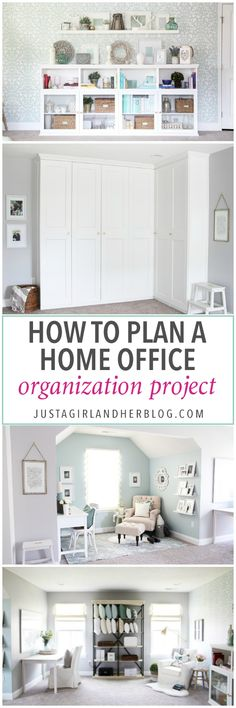 She explains her exact process for organizing and decorating this gorgeous home office to make it totally functional and beautiful at the same time! How to Plan a Home Office Organization Project | organize, organizing, home office, craft room, organized office, get organized, declutter | This strategy would work for nearly any space you are trying to organize! via @justagirlabby #homeofficespace