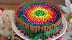 Gorgeous kit kat cake filled with a rainbow of candy!  See more party ideas at CatchMyParty.com!