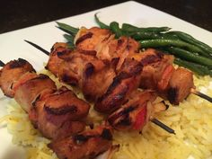 Grilled Szechuan Marinated Chicken Breast Skewers with Onions and Sweet Peppers on Saffron Basmati Rice and Buttered French Green Beans