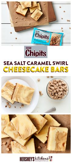 CHIPITS Sea Salt Caramel Swirl Cheesecake Bars are sure to impress everyone. Made with CHIPITS Sea Salt Caramel Chips, this delicious dessert packs major taste. These sweet and salty bars are perfect for any dinner party.