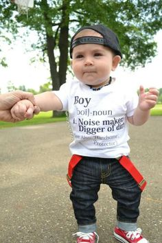 The original Boy Definition newborn infant baby boy bodysuit and toddler boy shirt. A must have for every little man! The perfect baby shower gift, Christmas gift, gift for nephew, birthday gift and more. This outfit reads the definition of a Boy in dictionary format: Boy-noun. 1. Noise-maker;