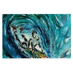 KESS InHouse Josh Serafin 'Sponge' Blue Teal Dog Place Mat, 13' x 18' * Discover this special dog product, click the image : Dog food container
