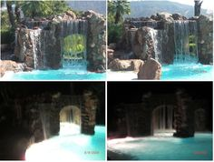 a swimming pool with a waterfall and cave