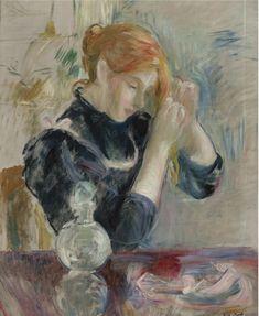"""lawrenceleemagnuson:  """"Berthe Morisot (1841-1895)  Devant la toilette (n.d.)  oil on canvas 4.8 x 54 cm  """""""
