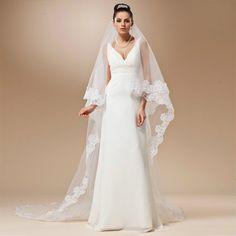 Voile Mariage Cheap Long Lace Edge Wedding Veil Ivory White Cathedral Wedding Veil Velos de Novia Wedding Accessories