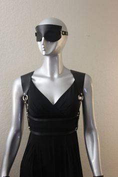 black leather harness women body harness belt rock by blackmotifa