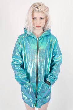 Blue PVC Hooded Rain Jacket