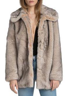 Avec Les Filles Women's Faux Fur Swing Coat - Natural - Medium Average Or Medium Or Regular