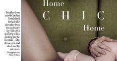 """Home Chic Home"" Caroline Trentini by Mario Testino for Vogue US March 2017 Caroline Trentini, Vogue Us, Mario Testino, Silky Dress, Chic, Shabby Chic, Elegant"