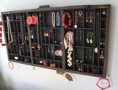 Jewelry Display from vintage typeset tray $98