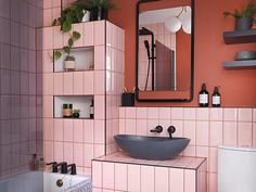 bathroom 2021 – Szukaj wGoogle Bathroom Images, Bathroom Trends, Bathroom Wallpaper, Bathroom Ideas, Big Bathrooms, Amazing Bathrooms, Latest Bathroom Designs, Mandarin Stone, Elements Of Color