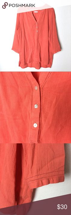 """J Jill Orange Popover Blouse Top Eyelet Trim Coral J. Jill Popover top. Slot neckline with buttons down the front. 3/4 sleeves. Color is orange/coral.  Measurements:  Shoulders: 18"""" Chest: 48"""" Waist: 48"""" Hips: 50"""" Front length: 27.5"""" Back length: 31"""" Sleeve length: 17""""  Material: 100% Cotton Size tag was cut so I chose the size according to the measurements. J. Jill Tops Blouses"""