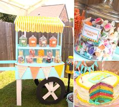 Carnival ideas {like the candy cart} and game ideas: ring toss on glass coke bottles, duck pond, and bucket toss