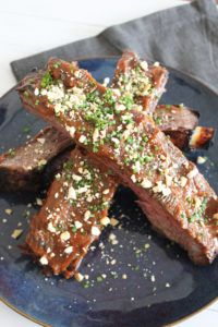 Miso Marinated Bison Baby Back Ribs with Crushed Cashews & Chives Fun Easy Recipes, Easy Meals, Bison, Ribs, Grilling, Good Food, Cooking, Desserts, Kitchen