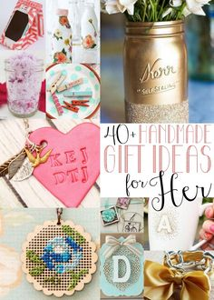 40 Handmade Gift Ideas for Women The ultimate round-up of handmade gifts for women! More than 40 great ideas perfect for moms, teachers, graduates and more. Best Teacher Gifts, Best Gifts, Diy Christmas Gifts, Holiday Gifts, Handmade Christmas, Christmas Ideas, Craft Gifts, Diy Gifts, Food Gifts