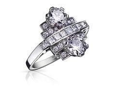 Bague Art Deco MAHAUT Or Blanc et Diamants. Bague ancienne.