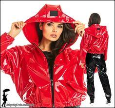 Rain Fashion, Red Leather, Leather Jacket, Vinyl Raincoat, Rain Wear, Rain Jacket, Windbreaker, Lipstick, Girls