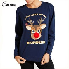 Fashion Popular Hoodies Women Sweatshirt Christmas Deer Red Fur pom Nose REINDEER Autumn Winter Long Sleeve sweat chien QL2762