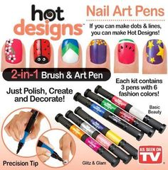 Hot Designs Glitz and Glam Nail Art Pens - 6 Color - Silver, Pink, Purple, Yellow, Raspberry and Orange Salon Polish Brush As Seen on Tv