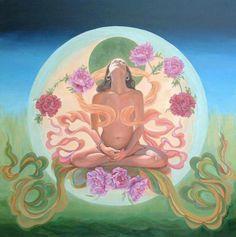 om lotus meditate divine sacred feminine goddess roses flower
