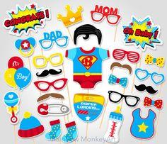 Baby Shower Photo Booth Props   Superhero Superman Photo