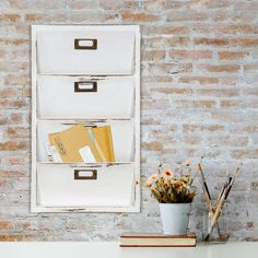 Charlton Home Norfork Distressed Wall Mail Organizer Letter Bin Wall File Organizer, Wall File Holder, Hanging Mail Organizer, Hardware Organizer, Magazine Organization, Wall Organization, Organizing Ideas, Mail Storage, Do It Yourself Organization