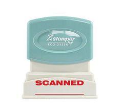 """Xstamper 1829 SCANNED Pre Inked Laser Engraved Rubber Stamp Red Ink Impression Size: 1/2"""" x 1-5/8"""""""