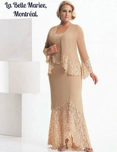 plus size mother of the bride dress with lace trim. This long sleeve flowing jacket compliments the long floor length skirt. To find other plus size mother of the bride evening dresses please go to www.dariuscordell… (custom designs & replicas are also Mother Of The Bride Plus Size, Mother Of The Bride Suits, Mother Of Groom Dresses, Bride Groom Dress, Mothers Dresses, Bride Gowns, Mother Bride, Mother Of The Bride Fashion, Plus Size Gowns