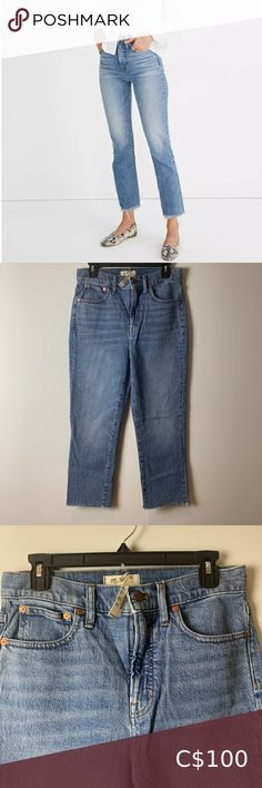 """Madewell The Perfect Vintage Crop Jean Madewell The Perfect Vintage Crop Jean in Ainsworth Wash size 27 Style AF691 With their waist-accentuating high rise and tapered legs, these are """"mom jeans"""" 99% cotton/1% spandex denim. Measurements in photos these are cropped jeans as the label states! Madewell Jeans Ankle & Cropped Skinny Ankle Jeans, Cropped Skinny Jeans, Black Strapless Dress, Curvy Jeans, Button Fly Jeans, Vintage Jeans, Grey Sweatshirt, Black Skinnies, Distressed Jeans"""