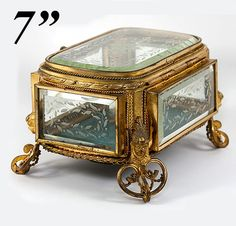 Antique French Jewelry Box, Casket in Dore Bronze & Deep Beveled Engraved Glass