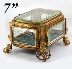 ANTIQUE ORMOLU BEVELED GLASS JEWELRY BOX CASKET Jewelry trinket