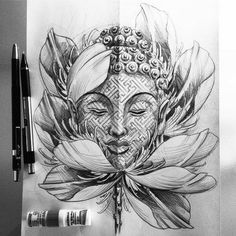 Brilliant Buddha Tattoos And Ideas With Meaning - In Present Day Watercolor And Abstract Styles Of Tattoo Design Will Give A Different Appearance And One Of The Design Which Is In Tradition Is Geometrical Buddha Tattoo Design Please Check Out These Wolf Tattoos, Skull Tattoos, Forearm Tattoos, Body Art Tattoos, Tattoo Drawings, Sleeve Tattoos, Flower Drawings, Hand Tattoos, Buddha Tattoo Design