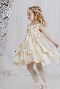 "Flower Girl -- Biscotti ""Glimmer in Gold"" Champagne Strappy Dress"