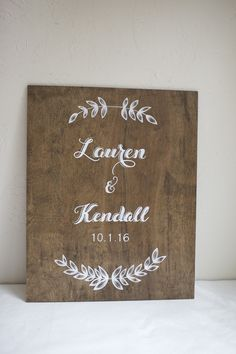 Dark stained wood wedding sign with floral garland. Custom signs for events. Personalized. Choose a stain and size.