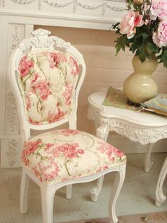 Cream with Pink Rose Linen fabric chair {desk chair}