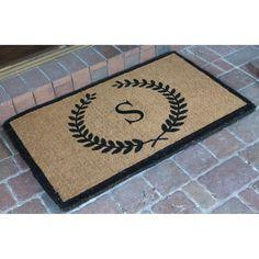 Monogrammed E 20 x 36 Nedia Home Super Scraper Bungalow Vinyl Coir Doormat