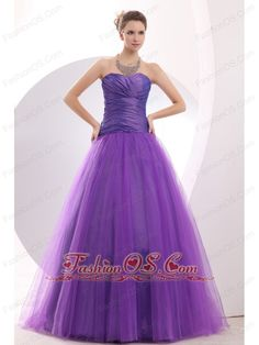 Cheap Purple Prom / Evening Dress Ruch A-line Sweetheart Floor-length Tulle  http://www.fashionos.com  The purple prom dress is sure for you to own if you are searching for something purple. A fitted, strapless bodice made of ruched details accenting the sweetheart neckline. The full skirt with net material on the outlayer creates a beautiful shape to complete the dress. The back is zipper up back.    lovely 2013 prom dress | inexpensive prom dress |