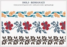 traditional Romanian blouse from MOLDOVA, Bacau county Loom Beading, Beading Patterns, Embroidery Patterns, Cross Stitch Borders, Cross Stitch Patterns, Knitting Charts, Stitch Design, Pixel Art, Pattern Design