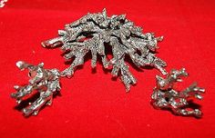 Huge-Rare-Vintage-Signed-Zentall-Porous-Coral-Brooch-Pin-Clip-On-Earrings
