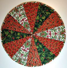 Quilted Table Topper, Christmas Table Mat, Round Dresden Plate Table Topper, Red Green White, Quiltsy Handmade by VillageQuilts on Etsy