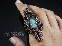 Boho Turquoise Magnesite Ring Wire Wrapped Copper by MyWillowGems