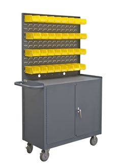 """38.5"""" H x 36"""" W x 18.25"""" D Mobile Workstation with Lockable Storage Compartment"""