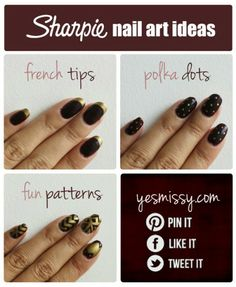 Use your Sharpie as a nail art pen! Finish off with a clear top coat to seal!