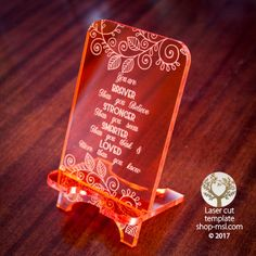 Product Cell phone stand laser cut and engrave inspirational message template, pattern, design, Mothers day gift. Free Vector designs every day. @ shop-msl.com