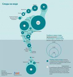 Информация о том, какое количество пресной воды используется промышленными предприятиями и как много пресной воды ими же загрязняется, представлена в виде логотипа Water Footprint Network — человеческого следа на воде.    Источник: grida.no