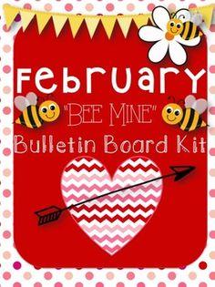 "February Bulletin Board Kit! ""Bee Mine"" Theme"