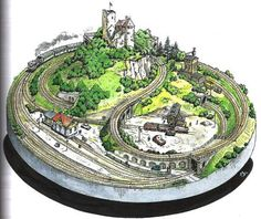 The Dream - A round layout, measuring 110 cm in diameter. Plans for round layouts are seldom seen because they're challenging to design. Well, except for pizza layouts, which are becoming quite popular these days. N Scale Train Layout, N Scale Layouts, N Scale Model Trains, Model Train Layouts, Scale Models, Train Miniature, Escala Ho, Model Railway Track Plans, Garden Railroad