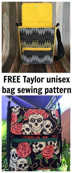 FREE Taylor unisex sewing pattern. This is a great bag that can be altered with piping, different fabric choices and extra pockets.