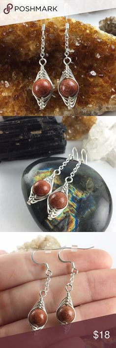 Natural Goldstone wire wrapped earrings handmade *Hypoallergenic/tarnish resistant silver plated chain, wire & findings. *Natural 8mm Goldstone beads. They dangle about 2in from an earlobe & earring backs are included. Handmade with love ✨#earrings #dangleearrings #wirewrap #crystals #crystalearrings #bohemian #handmade #goldstone #silverearrings Jewelry Earrings